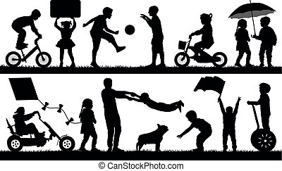 Child different events, set. Children playing outdoor, silhouette vector. Baby entertainment, isolated on white background