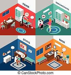 Child Diseases Colorful Isometric Compositions