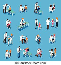 Set of isometric icons with child diseases pediatricians and parents on blue background isolated vector illustration
