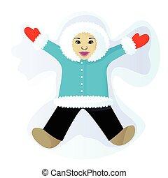 Child do snow angel