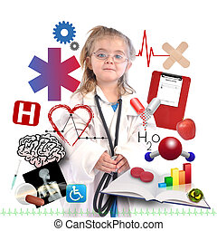 Child Doctor with Academic Career on White - A small child...