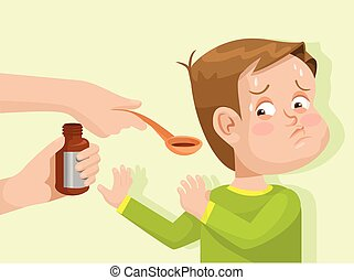 Child does not want to drink the medicine. Vector flat...