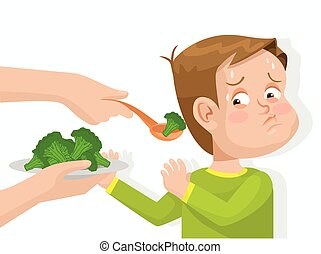 Child does not want to eat broccoli. Vector flat...
