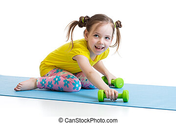 child doing fitness exercises