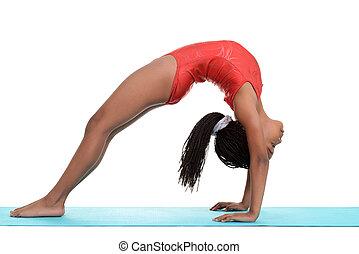 child doing gymnastics bridge - South African child doing...