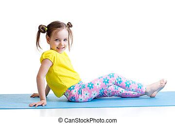 child doing gymnastics exercises