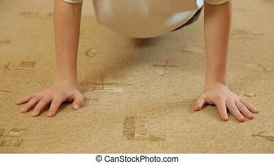 Child Doing Push-Ups At Home - Teen Boy Doing Push-Ups At...