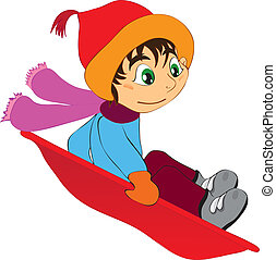 child downhill - vector illustration shows a child sledging...