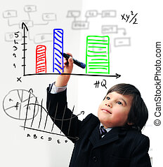 Child drawing  a diagram on digital screen