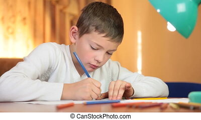 Child drawing at home
