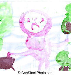 Child picturesque colored drawing on paper paints