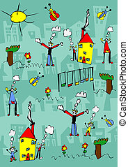 Child drawing of a happy family enjoy outdoors - Child hand...