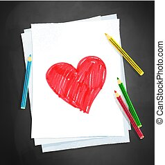 Child drawing of heart shape