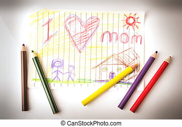 Child drawing of her mother for mother's day
