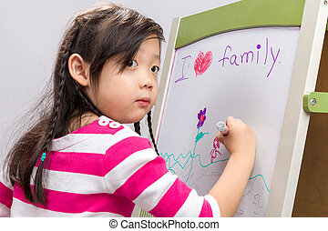 Child Drawing on Whiteboard