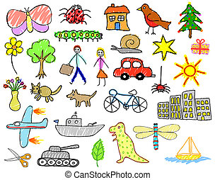 Child drawings - Set of illustrations of children\\\'s...