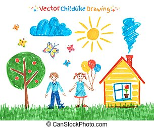 Child drawings vector set.