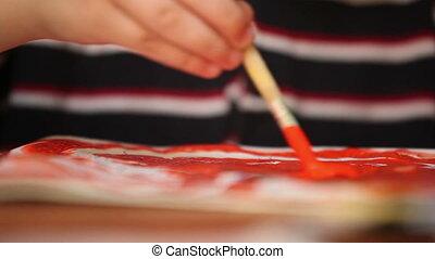 child draws paints 6
