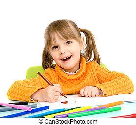 child draws
