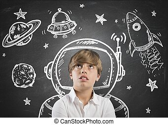 Child dreamer - Child who dreams of being in space with open...