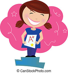 """School superstar! Small school girl holding up test and dreaming about """"A plus"""" grade."""