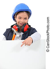 Child dressed as a construction worker with a board left blank for your message