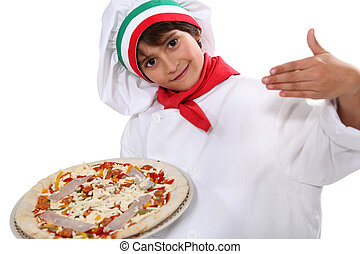 Child dressed as pizza chef