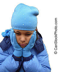 Child Dressed for Winter - Child dressed for cold weather.