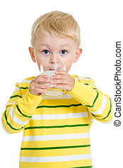 Child drinking dairy product from glass isolated on white