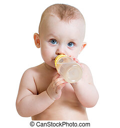 child drinking from bottle