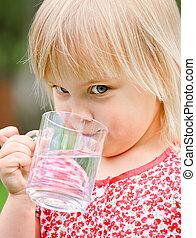 Child drinking water - Cute little girl drinking water ...