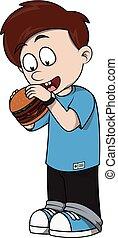 Child eat burger