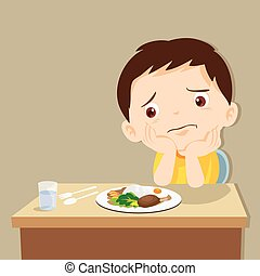 child eating boring food. Cute little boy bored with food.