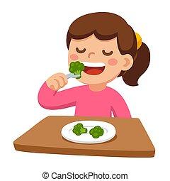 Child eating broccoli