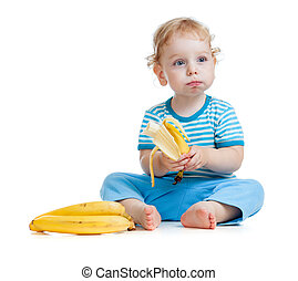 child eating healthy food fruits isolated on white