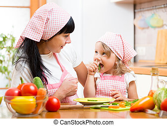 child eating healthy food on kitchen