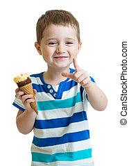Child eating ice cream isolated on white