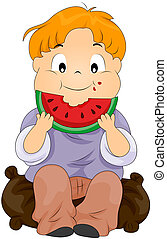 Child eating watermelon with Clipping Path