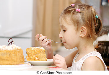 Child eats at the table