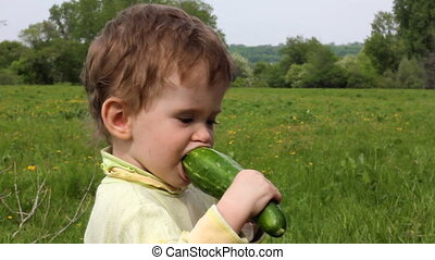 child eats cucumber on summer lawn