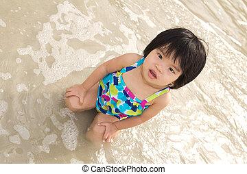 Child enjoy waves on beach