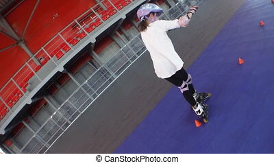 child enjoying in roller skating park - Sporty 10 year old...