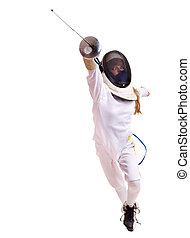 Child epee fencing lunge. Isolated.