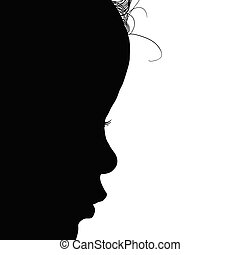 child face silhouette illustration