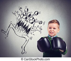 Child faces a virus - Pissed child faces an ugly monstrous...