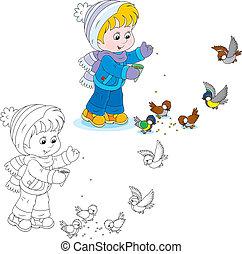 Child feeds birds - Little boy or girl feeding a small flock...