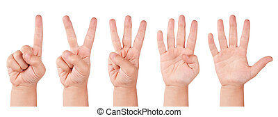 Child finger numbers. Human little countdown hand