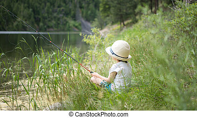 Child Fishing By The Lake