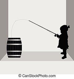 child fishing in barrel illustration
