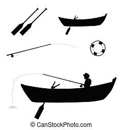 child fishing in boat illustration